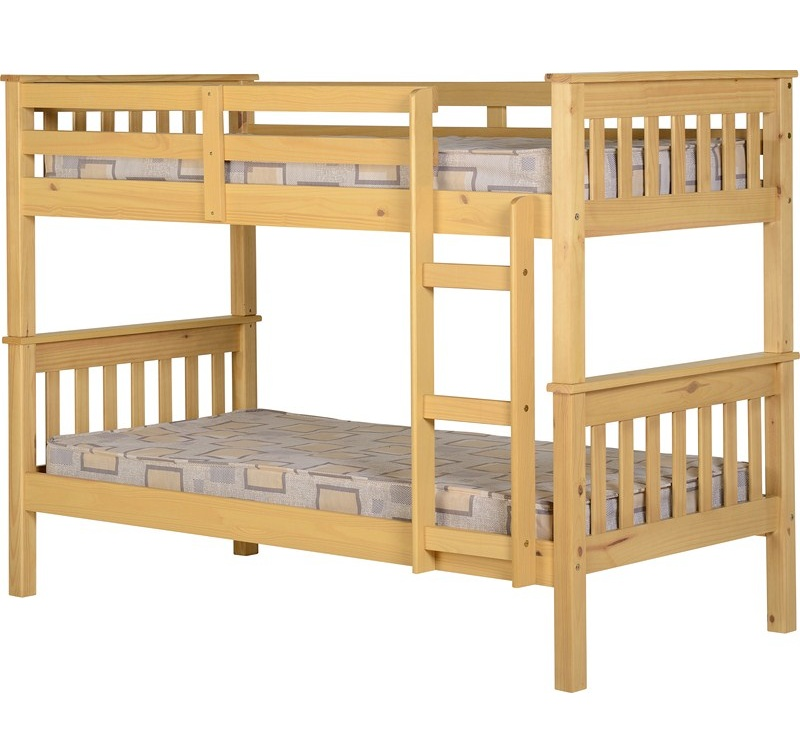 Neptune solid wood bunk bed natural splits into 2 single for Single loft bed frame