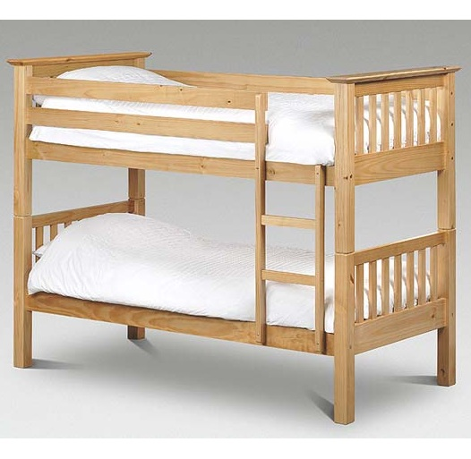 Barcelona Solid Pine Bunk Bed Natural Splits Into 2 Single Bedframes